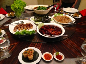 Display of the best Nyonya dishes in town